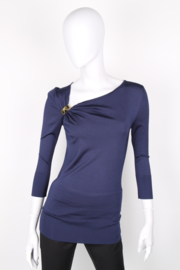 Gucci Blue Asymmetrical Jersey Longsleeve Top