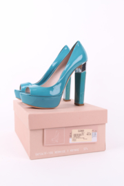 Miu Miu Turquoise Blue Patent Leather Open Toe Silver Block Heels