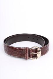 Gucci Vintage Crocodile Leather Belt - dark brown