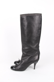 Chanel Black Lambskin Leather Round Patent Leather Toe Silver Plated Hardware CC Logo  Multi Chain Trim Boots