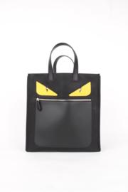 Fendi Monster Black Nylon Silver Coloured Hardware Shopper Tote Shoulder Hand Bag