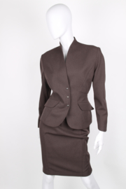 Thierry Mugler Brown Wool Longsleeve Wasp Waist Skirt Suit
