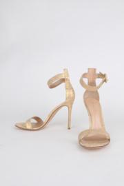 Gianvito Rossi Gold Lace Portofino Open Toe Strappy Sandalettes Heels