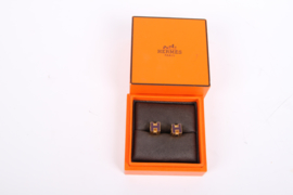 HERMES Enamel Cage d'H Cube Earrings Gold - Purple