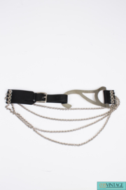 Dolce & Gabbana Belt - black leather/silver chains