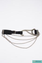 Dolce & Gabbana Belt - black leather/silver chains