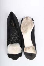 Chanel Satin Camellia Flats - black/white