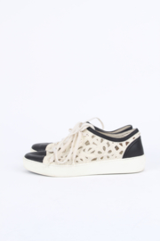 Chanel white cotton laser cut open-work CC logo and camelia low-top sneakers