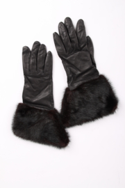 Burberry Leather & Fur Gloves - black