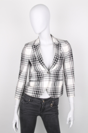 Gucci Black White Single-Breasted Cotton Checkered Longsleeve Blazer