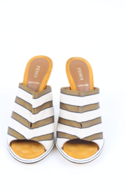 Fendi Striped Canvas Mules - army green/off-white/yellow