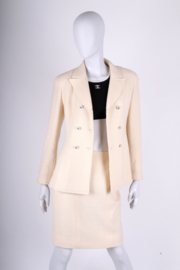 Chanel 2-pcs Wool Suit Jacket & Skirt - off-white