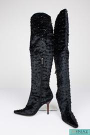 Tom Ford  for Gucci Velvet Beaded Over-knee Boots - black1 990S