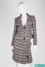 Chanel 2-piece suit - blue/brown/grey/silver