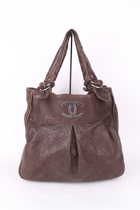 Chanel Brown Leather Quilted CC Logo Silver Coloured Hardware Shopper XL Shoulder Tote Bag