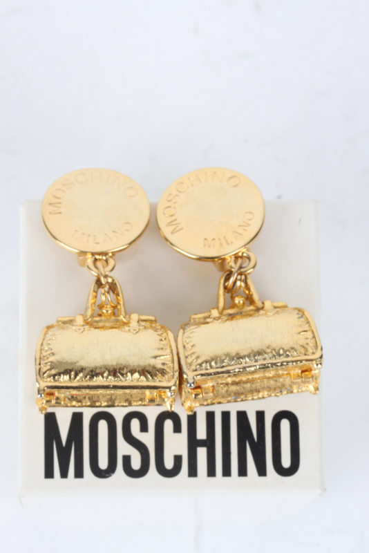 Moschino Gold-Plated Bag Charm Clip-On Earrings