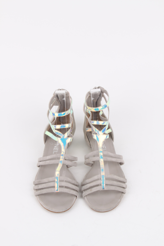 Chanel Grey Silver-Iridescent Gladiator Sandals