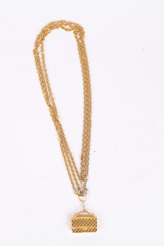 Chanel Triple Chain with Purse Pendant - gold