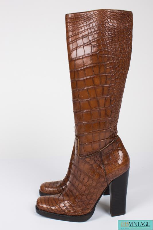 Prada Alligator Croco Leather Boots - light brown
