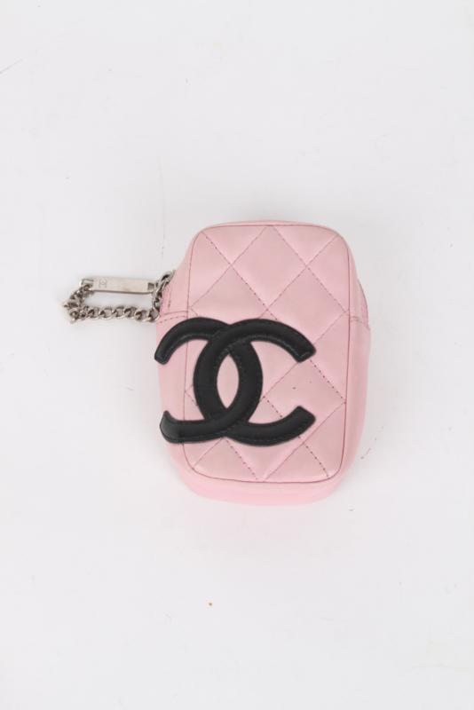 Chanel Cambon Pink Quilted Lambskin Leather CC Logo Monogram Zip Around Coin Purse Belt