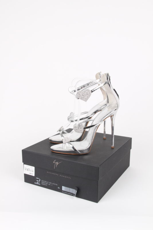 Giuseppe Zanotti Silver Metallic Swarovski Crystal Heart Strappy High-Heel Sandals