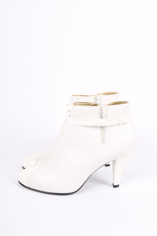 Chanel Ankle Booties - white leather