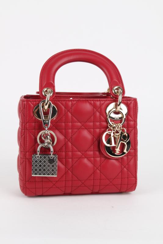Christian Dior Silver Metal Classic Lady Dior Bag Charm Key Chain