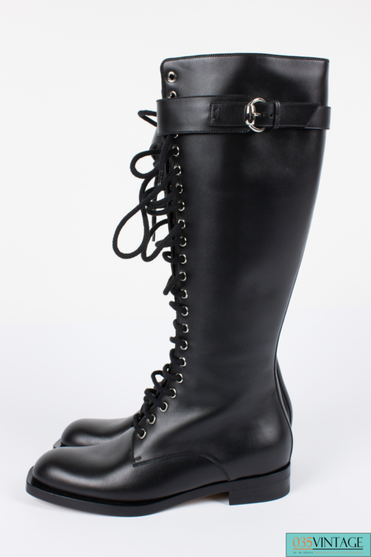 Gucci Georgia Lace Up Knee High Combat Boots - black leather