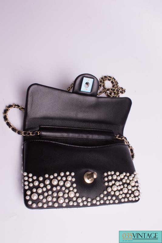 57dd003b61f Chanel Pearly Flap Bag Cross Body WOC Wallet on Chain - black ...