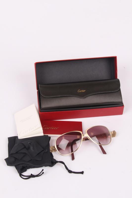 Cartier C De Cartier Alligator Sunglasses - burgundy/gold