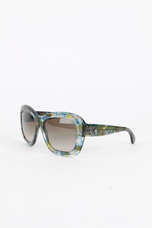 Chanel Green Resin Silver Coloured Metal Hardware Oversized Retro Design Sunglasses