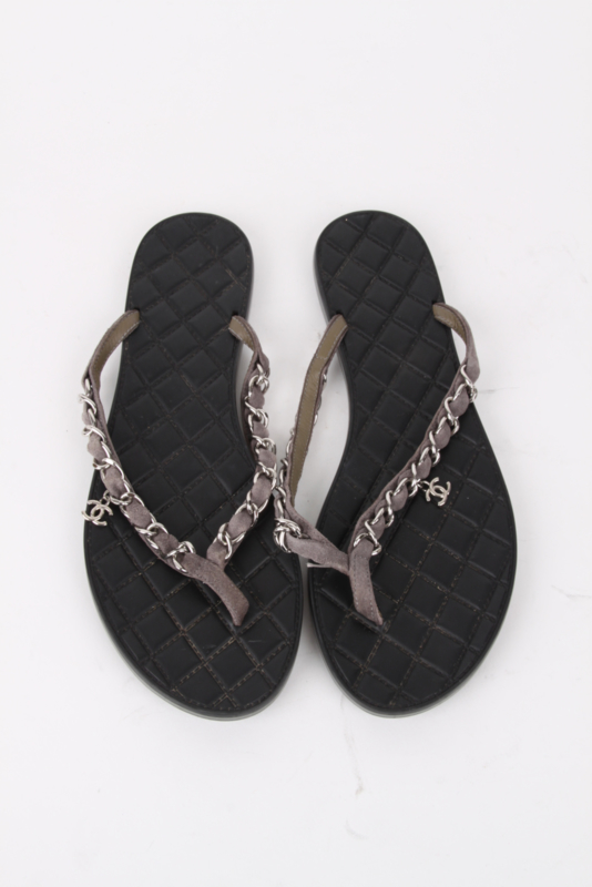 Chanel Silver Quilted Leather Chain Open-Toe Sandals