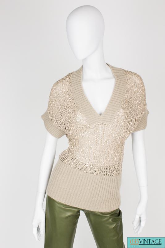 Valentino Top Wool Sequins - beige/gold