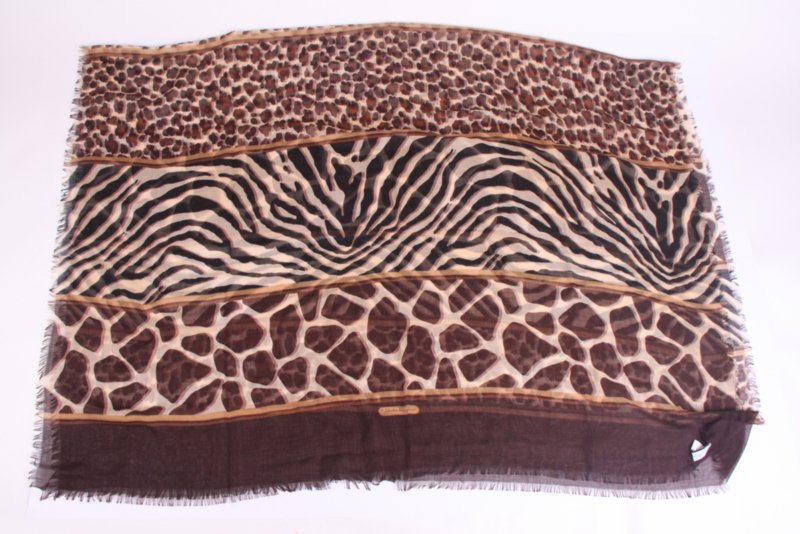 Salvatore Ferragamo Cashmere & Silk Scarf Animal Print - brown/black/beige