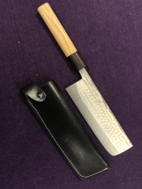 Leather saya (protective cover) for vegetable knives (nakiri) up to 18 cm
