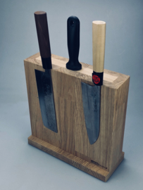 Magnetic Knife block for 4-8 knives -Oak Deluxe - (size L)