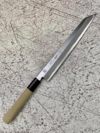 Kikuichi Kokaji White #1 Yanagiba Sanmai, ovaal Magnolia heft  -240 mm- + Saya