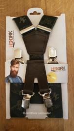 HENDRIK-GOLD bretel groen met jachttafereel