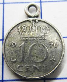 MHB028 5 stuks bedel dubbeltje verzilverd met hangoogje jaartal 1970