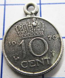 MHB033 5 stuks bedel dubbeltje verzilverd met hangoogje jaartal 1976