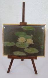 SCH030 schildersezel 22 cm hoog , witte waterlelies Monet
