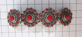 ZKG403-R Haarspeld 8 cm Zeeuwse knop verzilverd met rode emaille