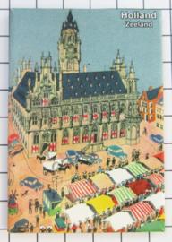 10 stuks koelkastmagneet Zeeland Middelburg markt N_ZE2.007