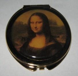 Spiegeldoosje Mona Lisa verguld rond