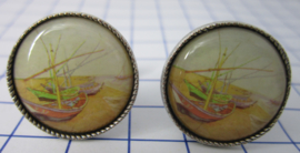 manchetknopen verzilverd afbeelding bootjes Vincent van Gogh MAK018