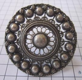 allergrootste zeeuwse knoop ring 7 cm doorsnede zwaar verzilverd, statement ring, zeer opvallend
