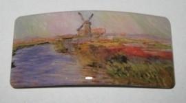 Haarspeld rechthoek Monet tulpenveld en molen HAR 006