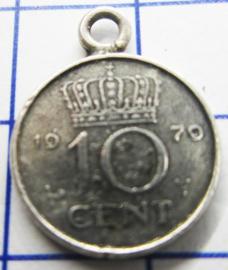 MHB036 5 stuks bedel dubbeltje verzilverd met hangoogje jaartal 1979