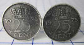 Manchetknopen verzilverd kwartje/25 cent 1973