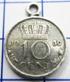 MHB019 5 stuks bedel dubbeltje verzilverd met hangoogje jaartal 1959